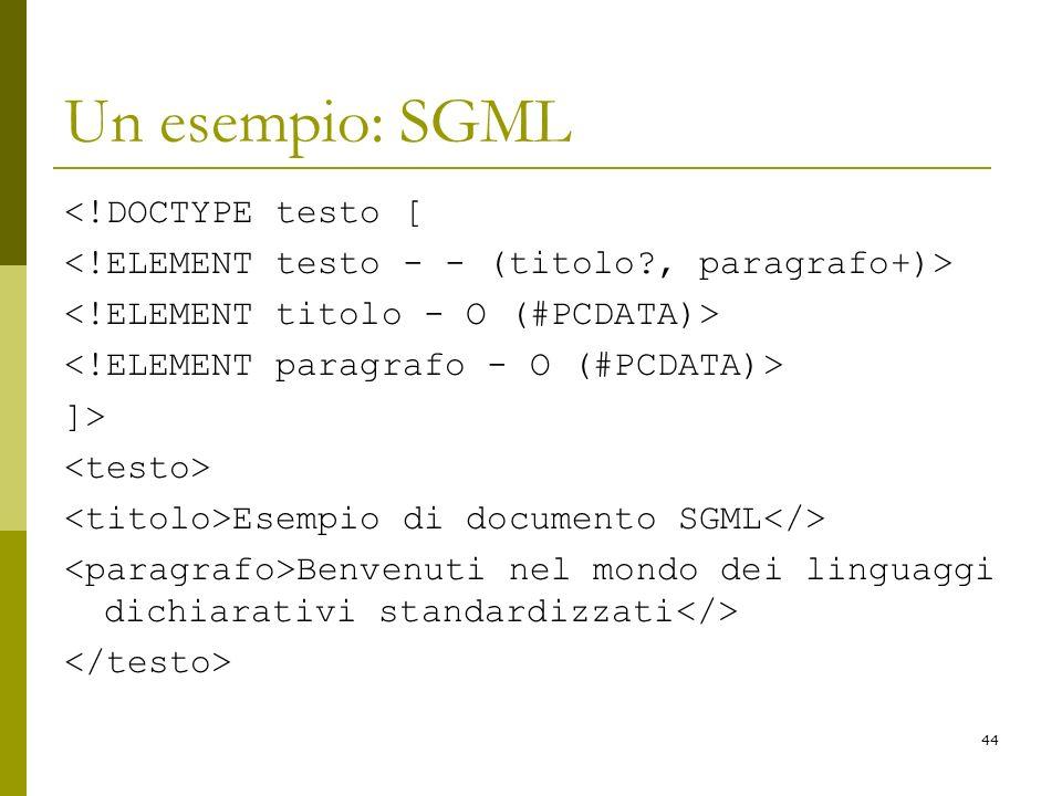 Un esempio: SGML <!DOCTYPE testo [